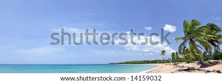 Breathtaking tropical beach panorama with a lot of copy-space, ideal for summer travel themes