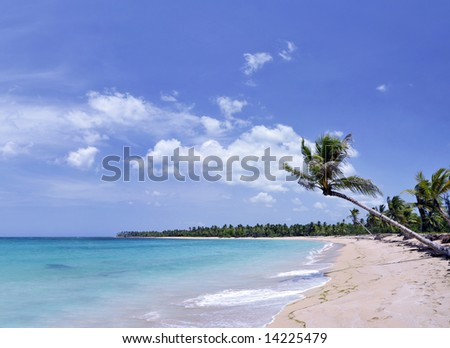 Breathtaking tropical beach with a lot of copy-space, ideal for summer travel themes