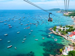 breathtaking view from the world's largest cable car over the sea in Vietnam on the Phu Quoc Islands