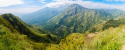 Breathtaking views over mountains and tea plantations from Little Adams peak in Ella Sri Lanka