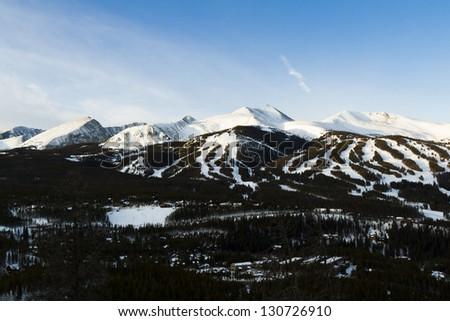 Breckenridge ski area at sunrise in the winter.