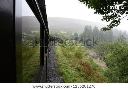 Brecon Mountain Railway's steam train  and the landscape #1235201278