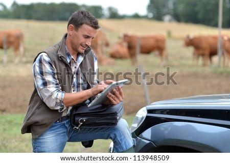 Breeder in farm using digital tablet - stock photo
