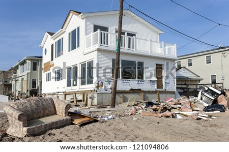 BREEZY POINT, NY - DECEMBER 3 :After more than a month from Hurricane Sandy no major reconstruction work began on Oceanside Drive at Breezy Point, New York, U.S., on Monday, December 03, 2012.