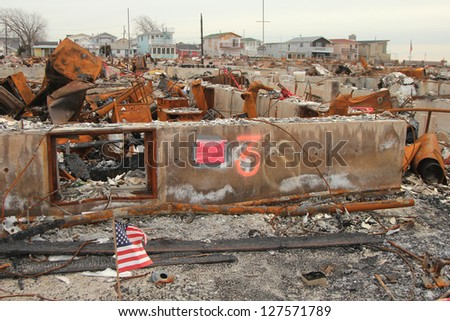 BREEZY POINT, NY- FEBRUARY 7:Hurricane devastated area in Breezy Point,NY three months after Hurricane Sandy on February 7, 2013. More than 80 houses were destroyed in out-of-control six-alarm blaze.