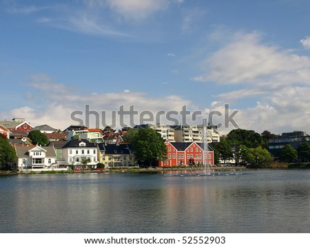 Breiavatnet is the small lake with fountain situated in the centre of Stavanger, Norway.