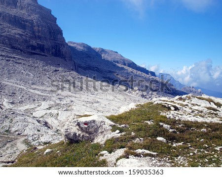Brenta Dolomites mountain views in the area of ??Alfredo Sentiero path and pass Groste, Italy