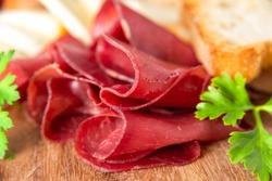 Bresaola, delicious typical italian raw beef salami