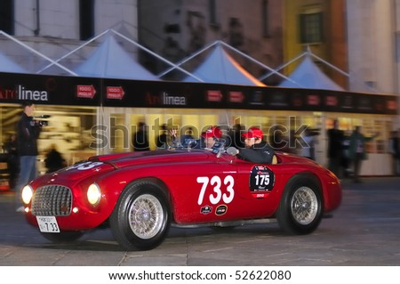 BRESCIA, ITALY - MAY 6 : A 1950 built Ferrari 166MM/195S takes part in the 1000 Miglia race on May 6, 2010 in Brescia.