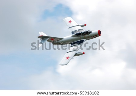 BRESLAU, ON, CANADA - JUNE 20: A Mig-15, a Russian aircraft type that won fame during the Korean War, performs at the Waterloo Aviation Expo and Air Show on June 20, 2010 in Breslau, Ontario.