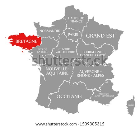 Bretagne red highlighted in map of France Stock fotó ©