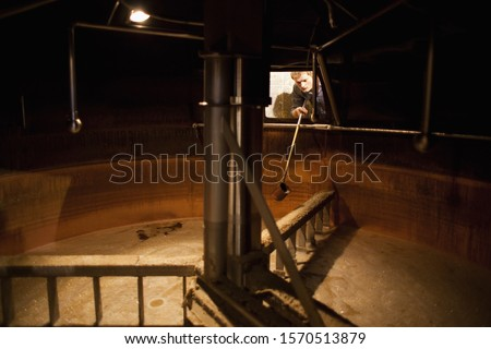 Brewer taking a beer sample from a lauter tun at brewery in Traunstein, Bavaria, Germany