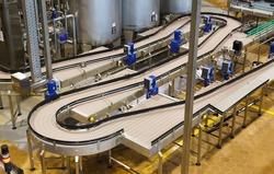 Brewery, conveyor, top view