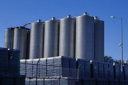 Brewery on a background of blue sky. Close-up.