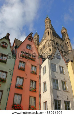 brewery pubs, houses and the curch St. Martin in the old town of Cologne, Germany