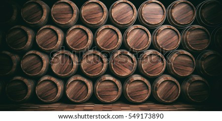Brewery, winery background. Wine, beer barrels stacked background. 3d illustration