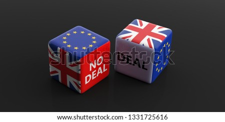 Brexit, deal or no deal concept. United Kingdom and European Union flags on dice, black background. 3d illustration