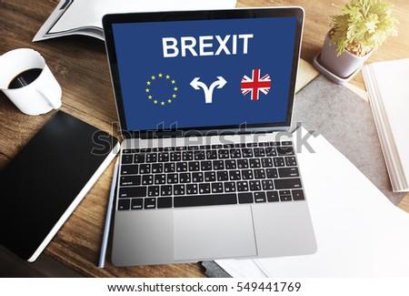 Brexit England European Flag Arrow Concept
