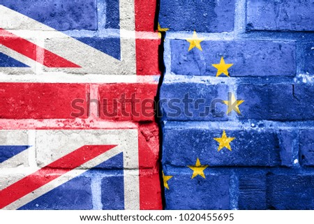 Brexit, Flags Of The United Kingdom And The European Union On Cracked Background #1020455695