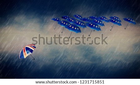 brexit / the other way  / umbrellas fly in opposite directions