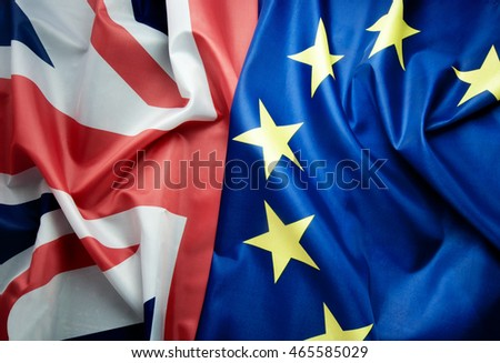 Brexit UK and European flag together