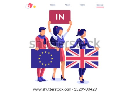 Brexit Uk concept United Kingdom banner. Political traditional government country voting anti European Union. Waving politics patriotic international supporters. Humans support separated flag. Cartoon