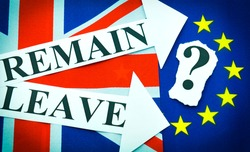 Brexit UK EU referendum concept with flags and leave vs. remain message