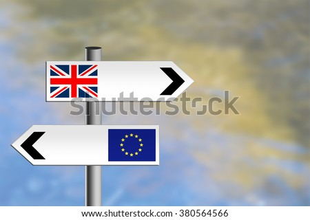 Brexit. United Kingdom referendum, EU, Europe vote. Or immigration. Sign posts, different directions leave Europe March 2019.