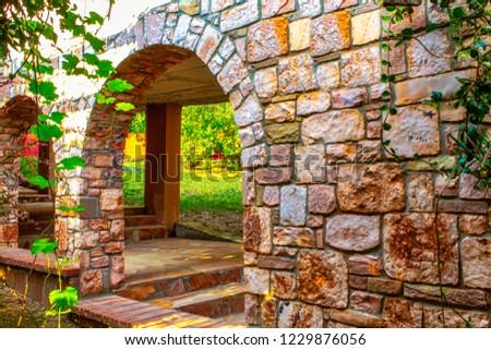 brick arch wall #1229876056