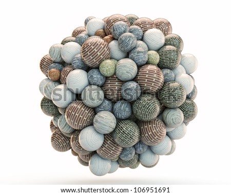 brick balls grouped into an invisible spherical shape