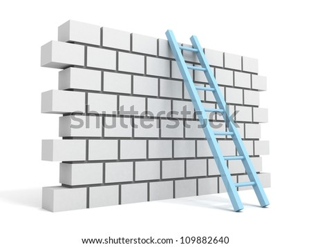 Brick block  wall and ladder over a white background