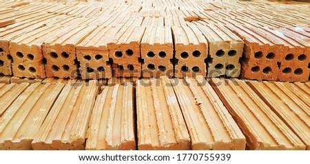 Brick blocks for interior exterior decoration. Blocks for industrial construction design. Texture brick of beige color. Brick pattern, Background