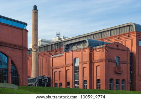 BRICK BUILDING - An industrial project in the urban space of Poznan Zdjęcia stock ©