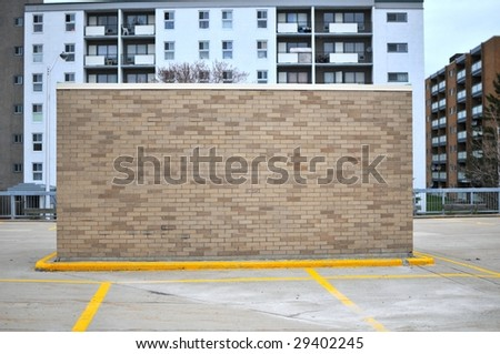 "Brick building in parking lot ""back"""