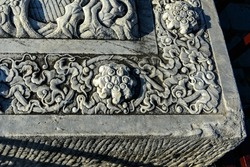 Brick carvings, stone carvings and ancient brick floors of the Eastern Mausoleum of the Qing Dynasty in ancient China