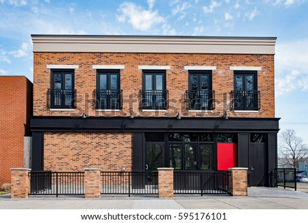 brick commercial building with...