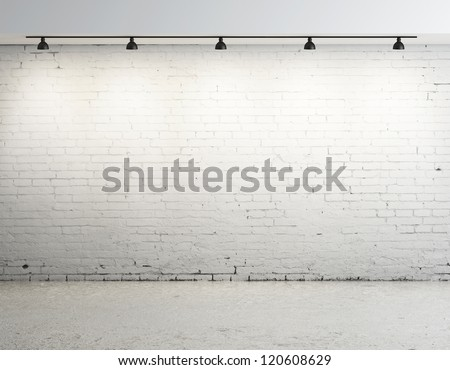 brick concrete room with ceiling lamp #120608629
