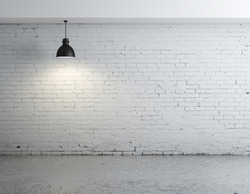 brick concrete room with ceiling lamps