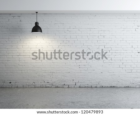 brick concrete room with ceiling lamps - stock photo