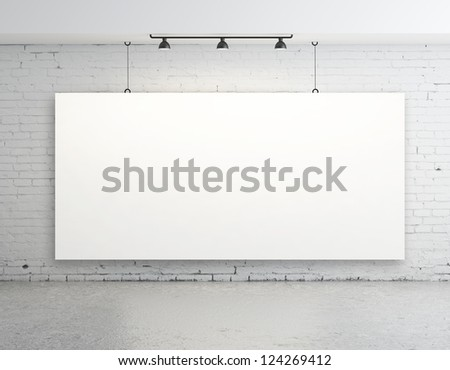 brick concrete room with poster on wall