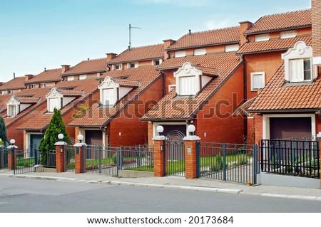 Brick condominium building in the morning