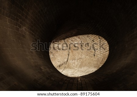 Brick corridor in underground old sewage treatment plant