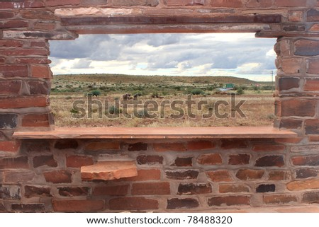 Brick counter and window with scenic background