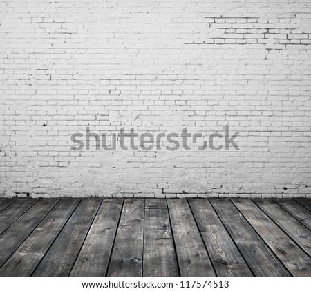 brick interior and wooden floor