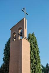 brick modern steeple of church in Torrijos, province of Toledo. Spain
