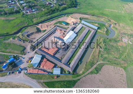 Brick production plant. Top view of a small factory for firing bricks. #1365182060