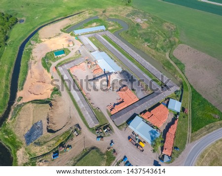 Brick production plant. Top view of a small factory for firing bricks. #1437543614