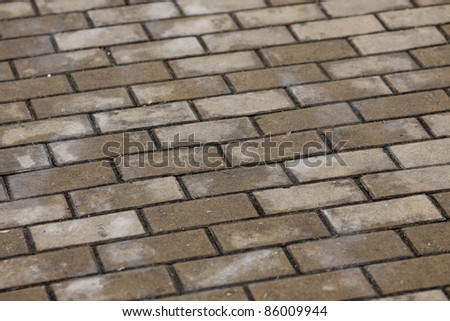brick road surface after a rain