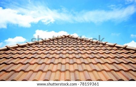 brick roof with clear cloud blue sky
