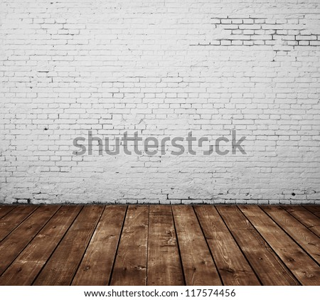 brick room and wooden floor